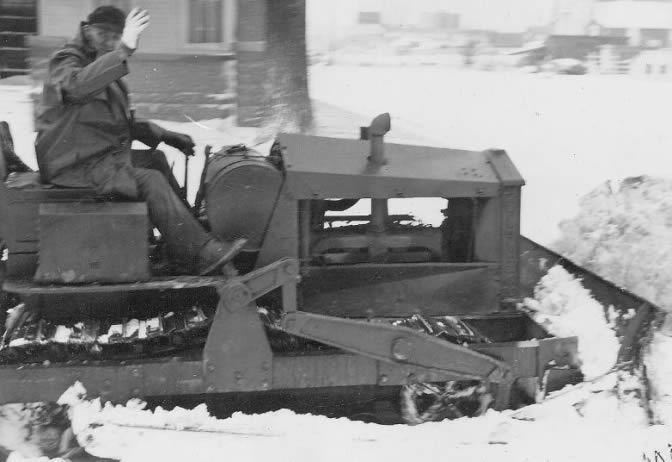 March 10, 1949. Mollie Wehrman removing snow.